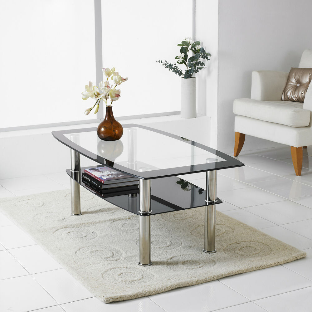 Modern Black & Clear Glass Chrome Living Room Coffee Table