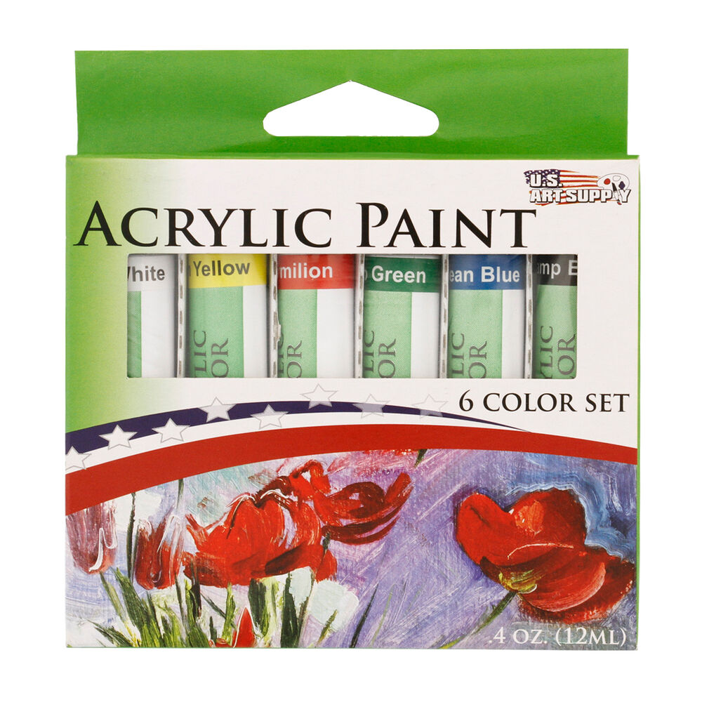 Us art supply 6 12ml tube artist acrylic paint set quick for Acrylic mural paint supplies