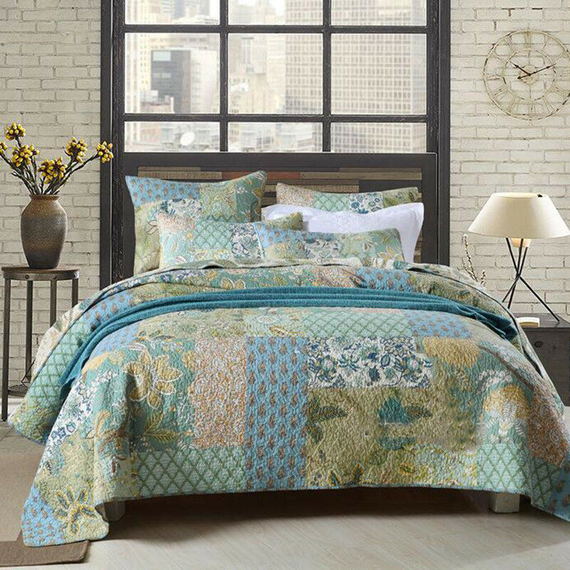 Floral Patchwork Bedspreads Set Queen King Size Quilted