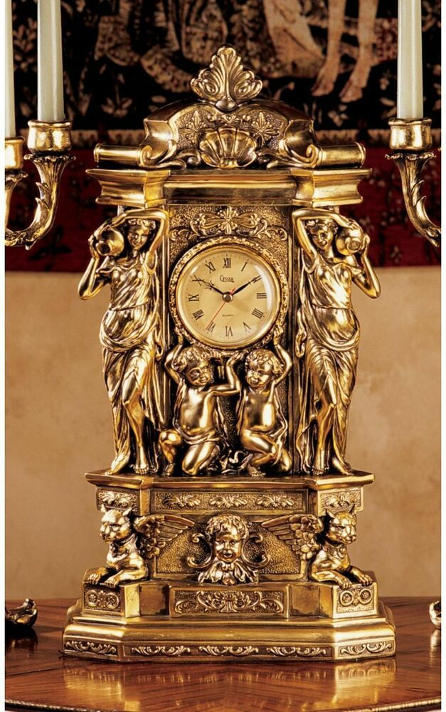 Classical greek ornate faux antique gold 20 mantel clock home decor new ebay - Antique clock designs for your home ...