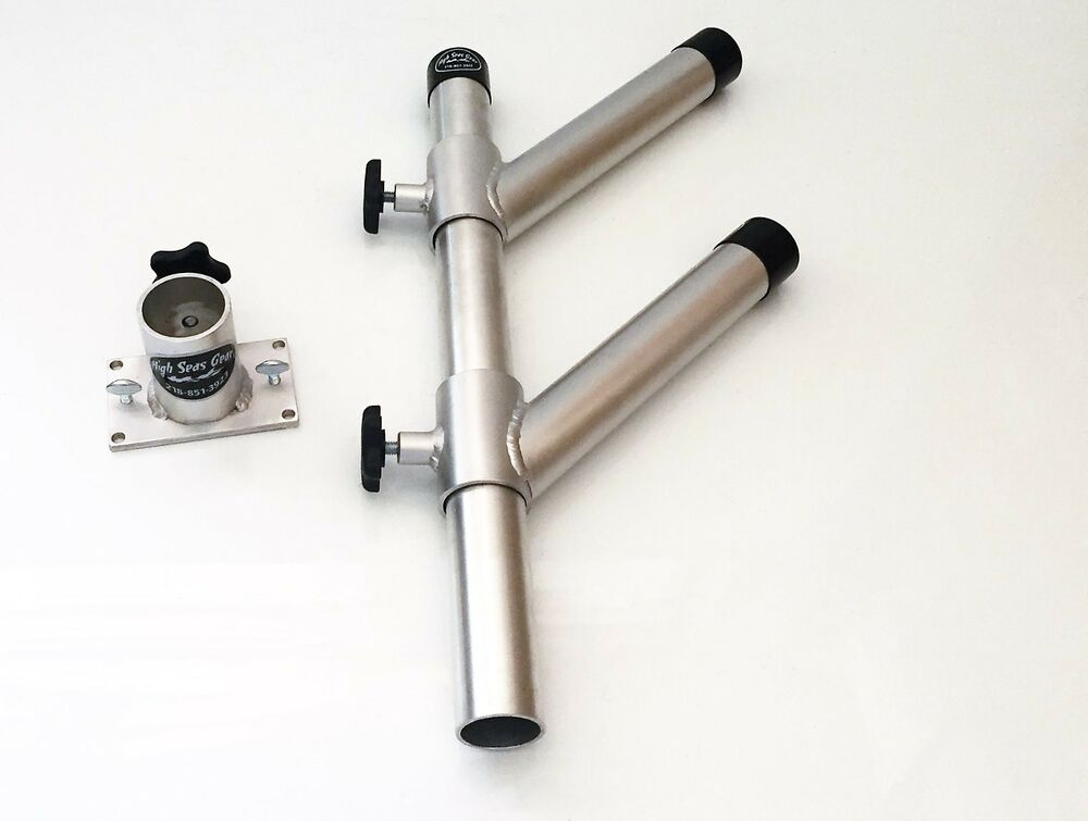 Twin adjustable rod holder tree with base fishing boat for Fishing rod holders