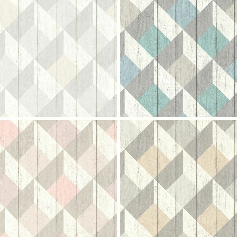 New Galerie Unplugged Wood Panel Effect Triangle Pattern