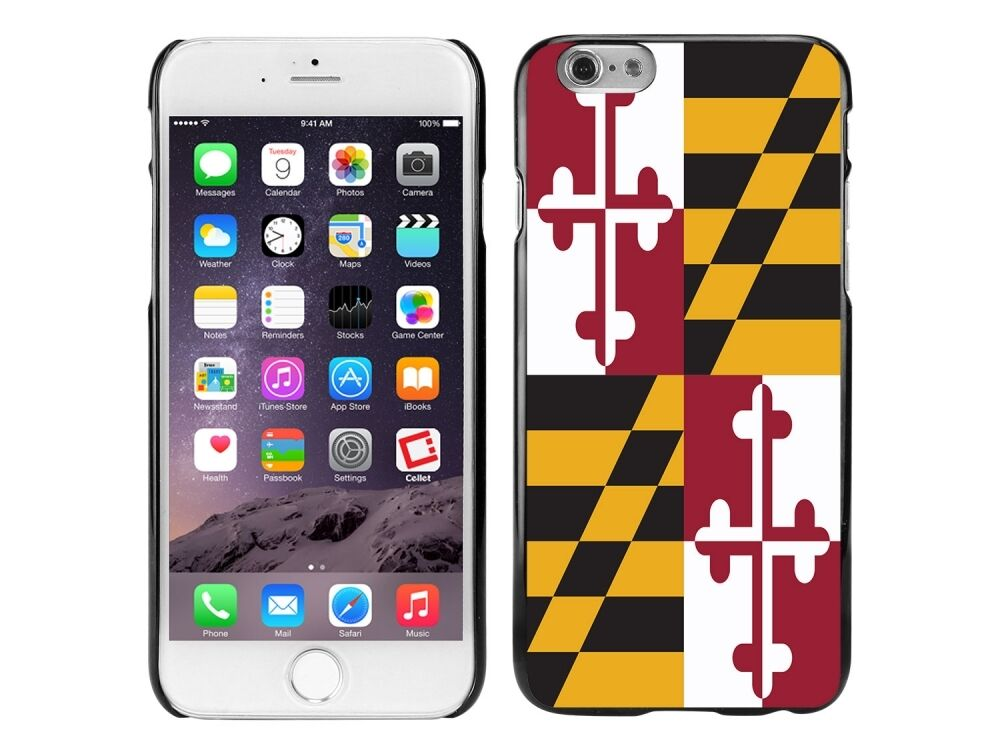 Iphone 6 Phone Cases: Cellet Black Proguard Case With Maryland Flag (02) For