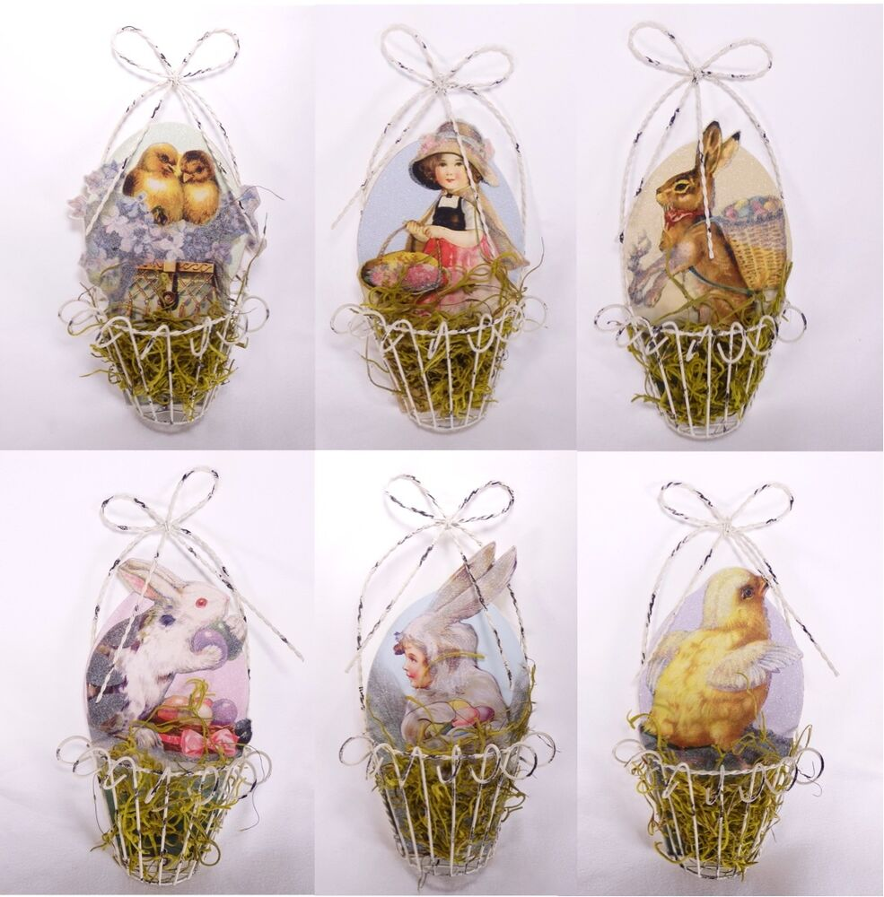 Cross Ornament For Girl Or Boy: Vintage Style Wire Easter Basket Ornaments Set Of 6 Bunny