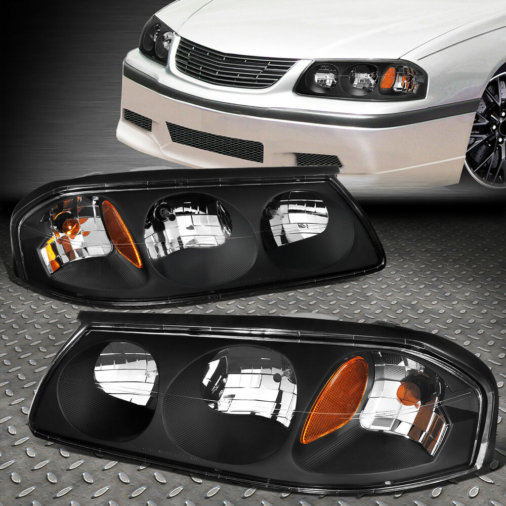Details About For 2000 2005 Chevy Impala Pair Black Housing Amber Turn Signal Headlight Lamp