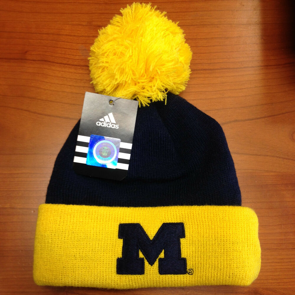 6ec6c5076a3 Details about NWT NCAA Knit MICHIGAN WOLVERINES CUFF POM Hat BOYS SIZE 4-7