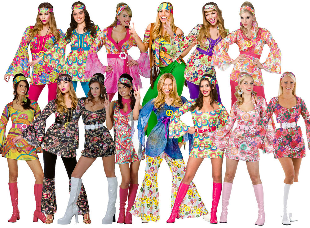 womens ladies hippie hippy fancy dress costume outfit 60s 70s retro groovy flare ebay. Black Bedroom Furniture Sets. Home Design Ideas