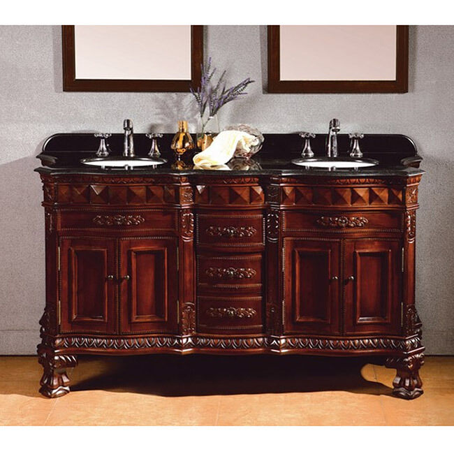 Ove decors birmingham 60 inch double sink bathroom vanity with granite top ebay - Double bathroom vanities granite tops ...