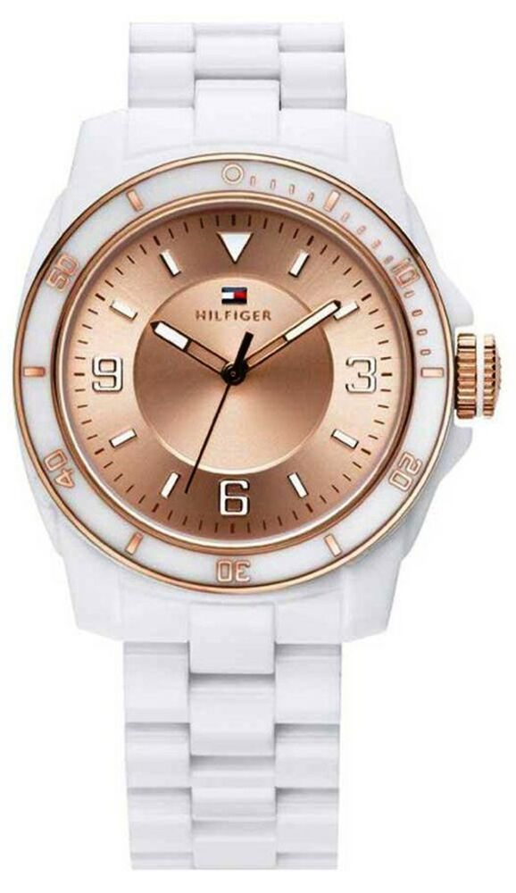 tommy hilfiger women rose gold dial white plastic strap. Black Bedroom Furniture Sets. Home Design Ideas