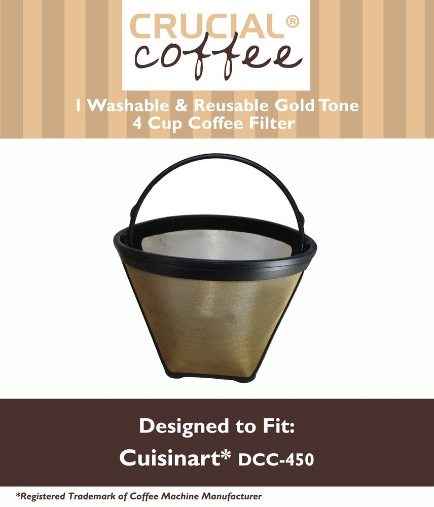 1 Washable Cuisinart GTF4 Gold Tone Coffee Filter Fits Cuisinart DCC-450 eBay