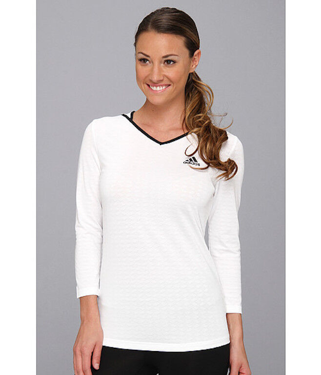 Women's White ADIDAS TENNIS RUNNING Athletic SHIRT $45 ...