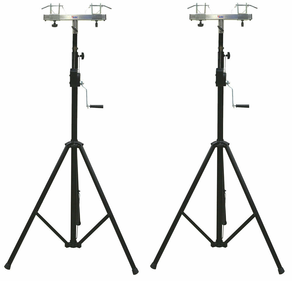 2 dj pro lighting 10 foot crank light stand 2 square truss t bar adapter ebay. Black Bedroom Furniture Sets. Home Design Ideas