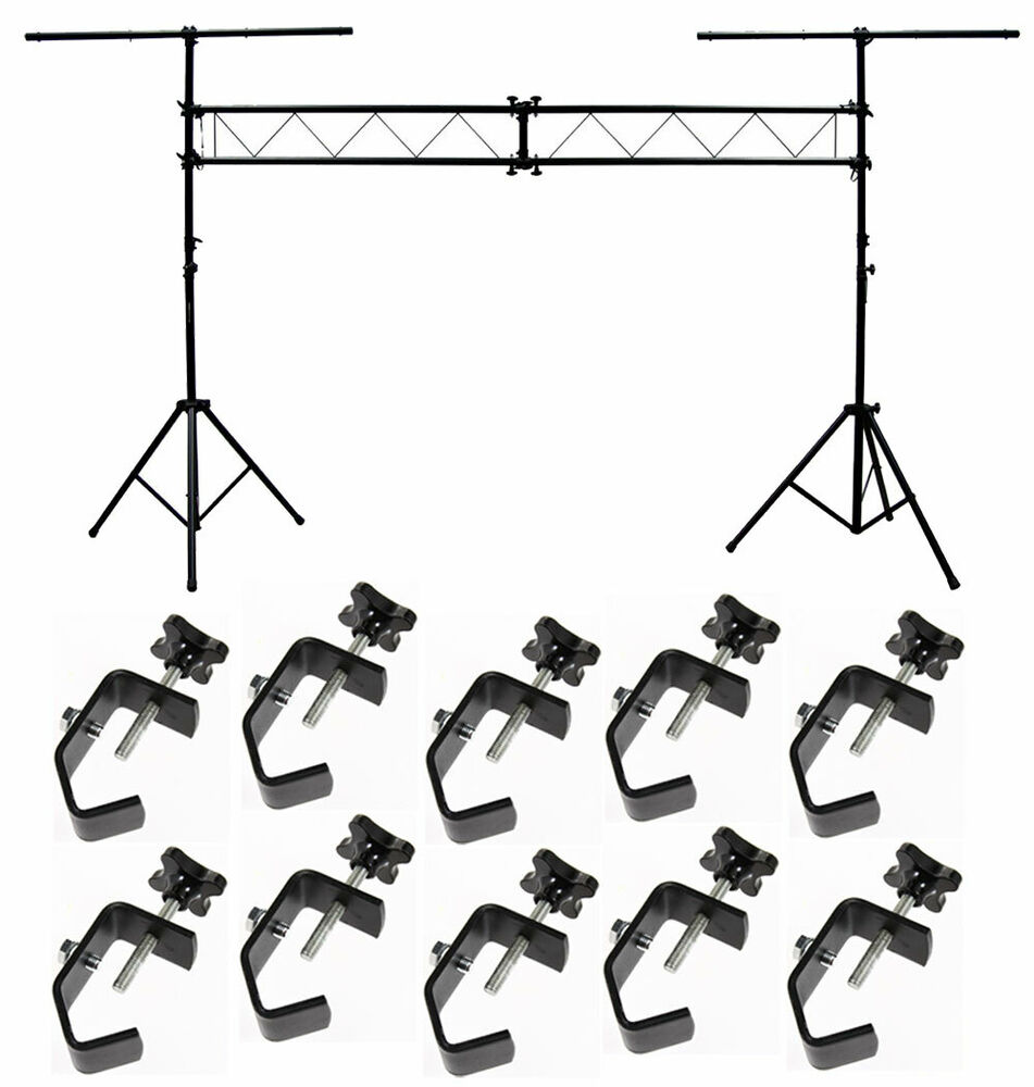dj pro audio light trussing 10 foot portable truss lighting system 10 c clamps ebay. Black Bedroom Furniture Sets. Home Design Ideas