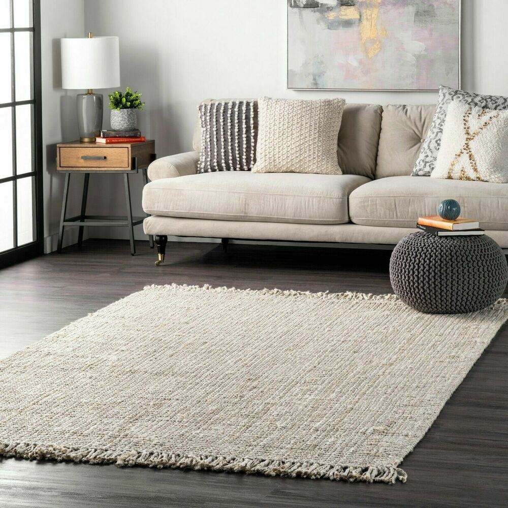 Nuloom Hand Made Chunky Loop Natural Jute Area Rug In Off