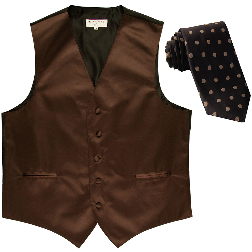 New Men S Formal Brown Vest Tuxedo Waistcoat Light Brown Dots Necktie Wedding Ebay