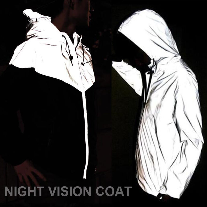 Women Men Night Vision 3M Reflective Cycling Cool Hooded ...