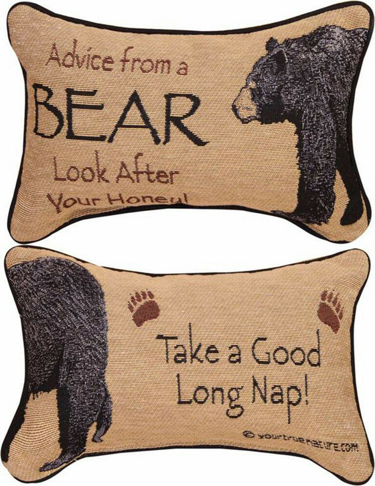 DECORATIVE PILLOWS - ADVICE FROM A BEAR REVERSIBLE PILLOW - LODGE DECOR eBay