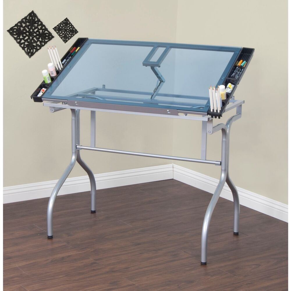 Studio designs silver blue glass foldable drafting and - Table studio ...