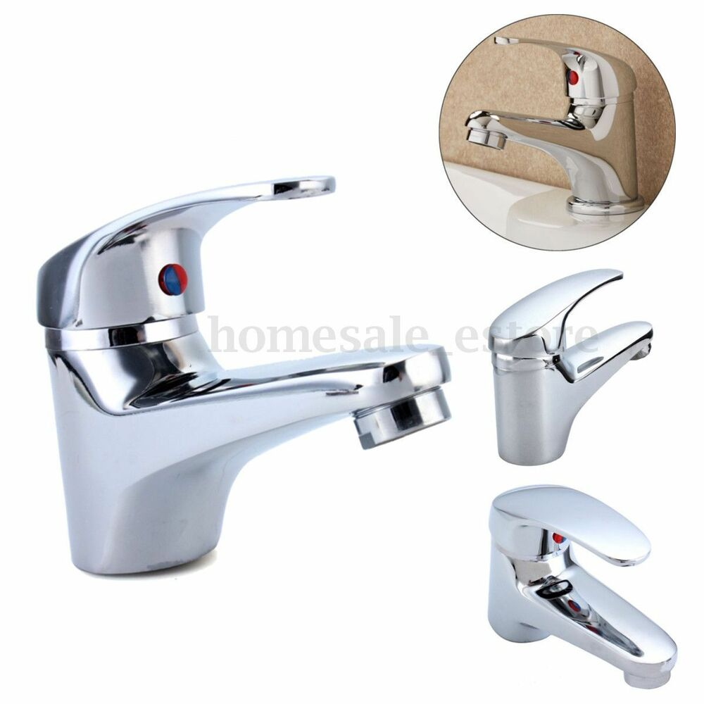 Hot Cold Chrome Classic Bathroom Single Side Lever Basin