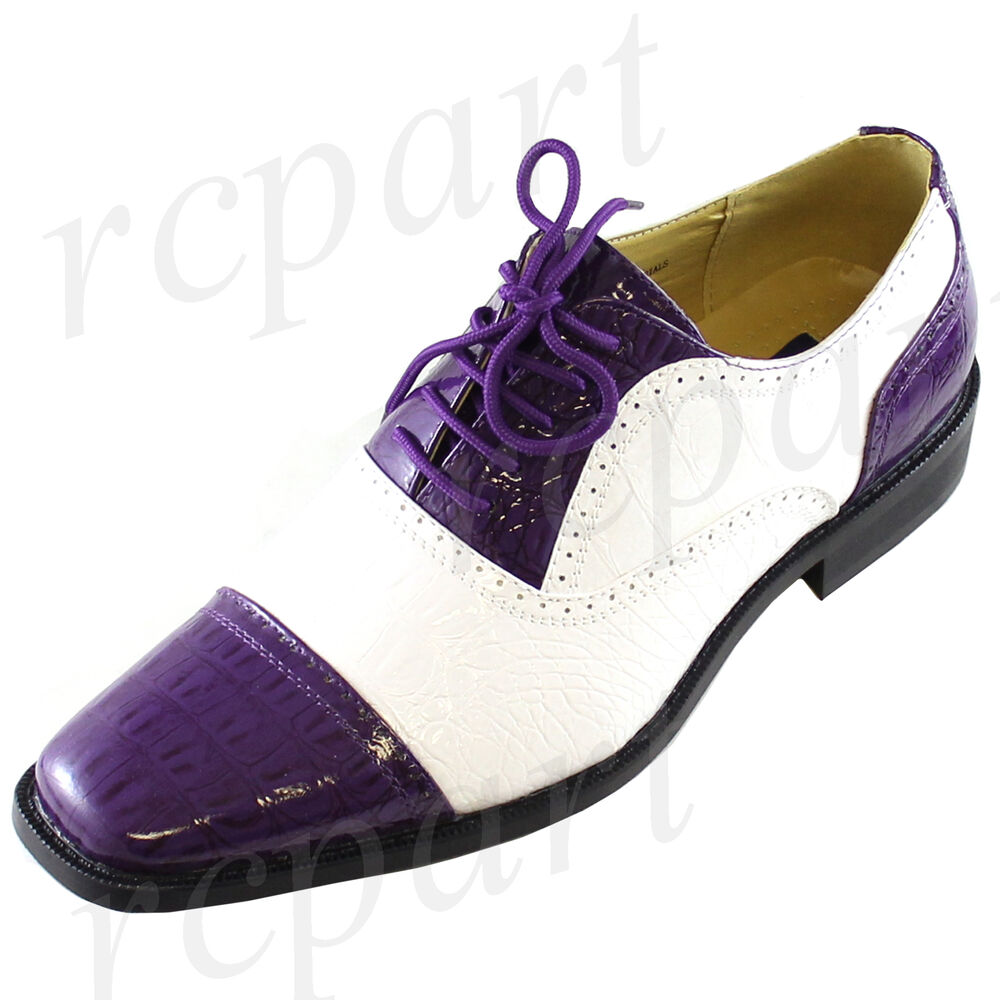 New Mens Dress Shoes Fashion Formal Lace Up Purple White Synthetic Wedding Prom