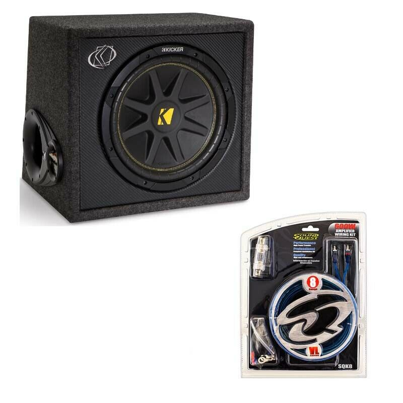 kicker vc12 12 inch 150 watt subwoofer box with 600 watt amp installation kit 713034050407 ebay