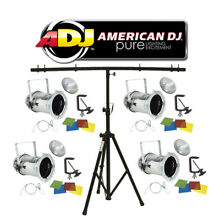 American DJ Lighting (4) 46 Combo Par Can Polished Stage Lights W/ T-Bar Stand