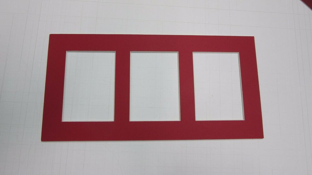 Picture Frame Mat 5x10 For Aceo Cards 3 Rectangle Openings