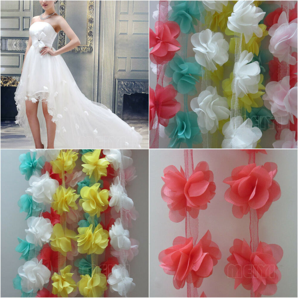 12x flowers 3d petals chiffon leaves trim wedding dress for Sell your wedding dress online for free