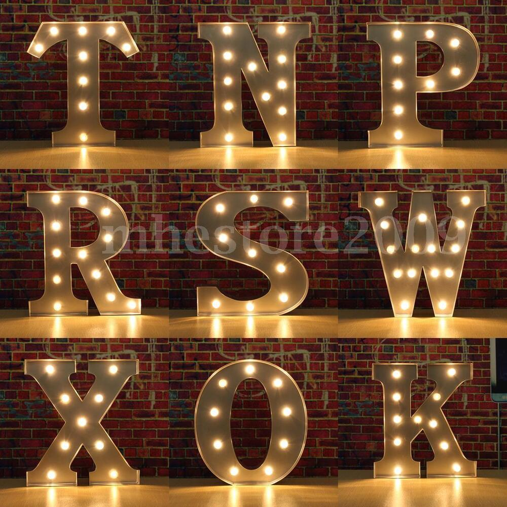 12 metal led light diy letter a c h g f e i r t w o p s n for Letter f decoration