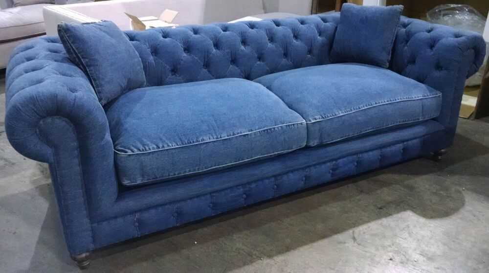 Oxford sofa 100 blue denim cotton down cushions 8 way hand tied nice ebay Denim couch and loveseat