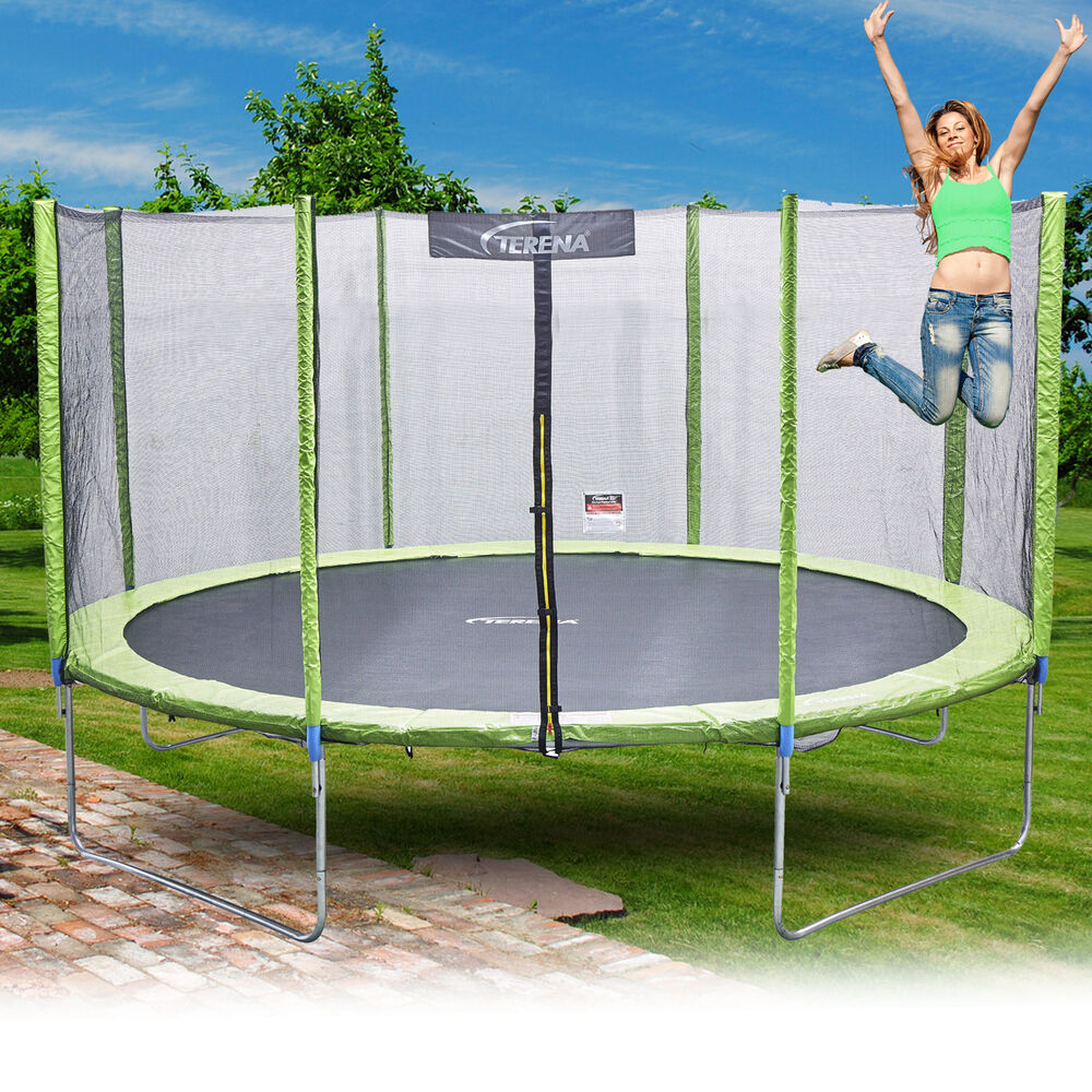 trampolin 305 cm mit netz sicherheitsnetz gartentrampolin f r kinder 10ft gr n ebay. Black Bedroom Furniture Sets. Home Design Ideas