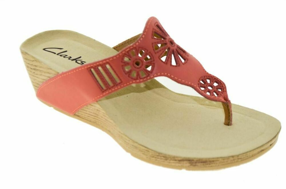 Clarks Womens Alto Seawalk Wedge Sandal Red Coral Style