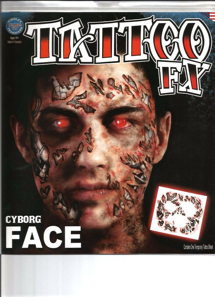 Cyborg costume face kit temporary tattoo fx tinsley for Terminator face tattoo
