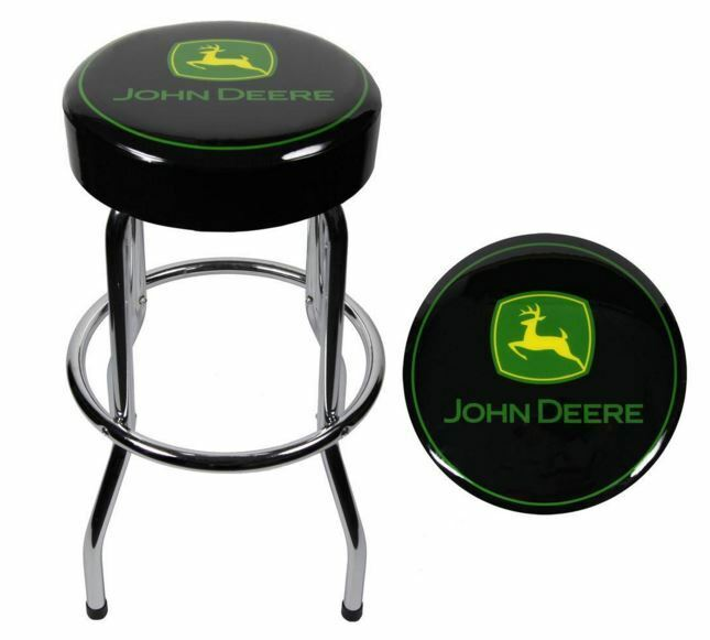 John Deere Stool Garage Chair Seat Bar Padded Farm Kitchen