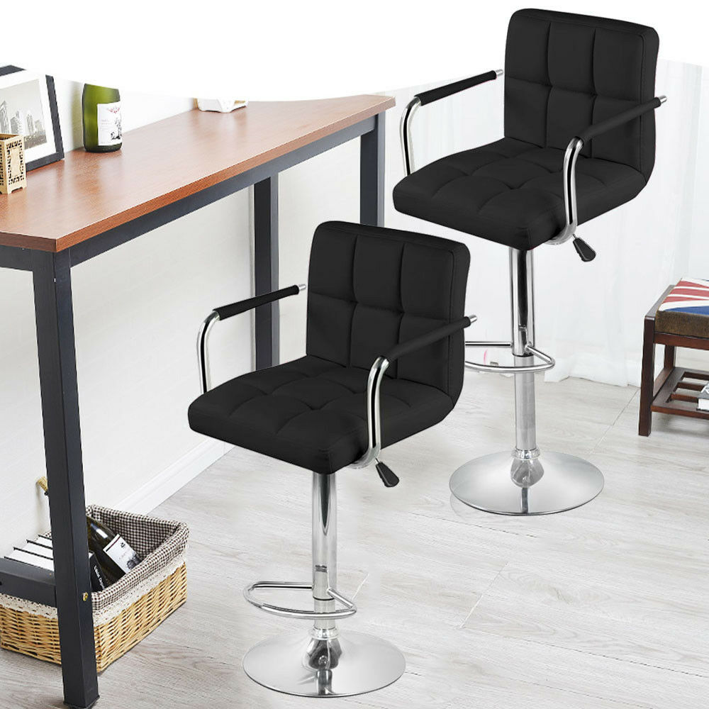 2 Black PU Leather Modern Design Adjustable Swivel Barstools Hydraulic Bar St