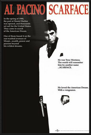 scarface framed movie poster print regular style