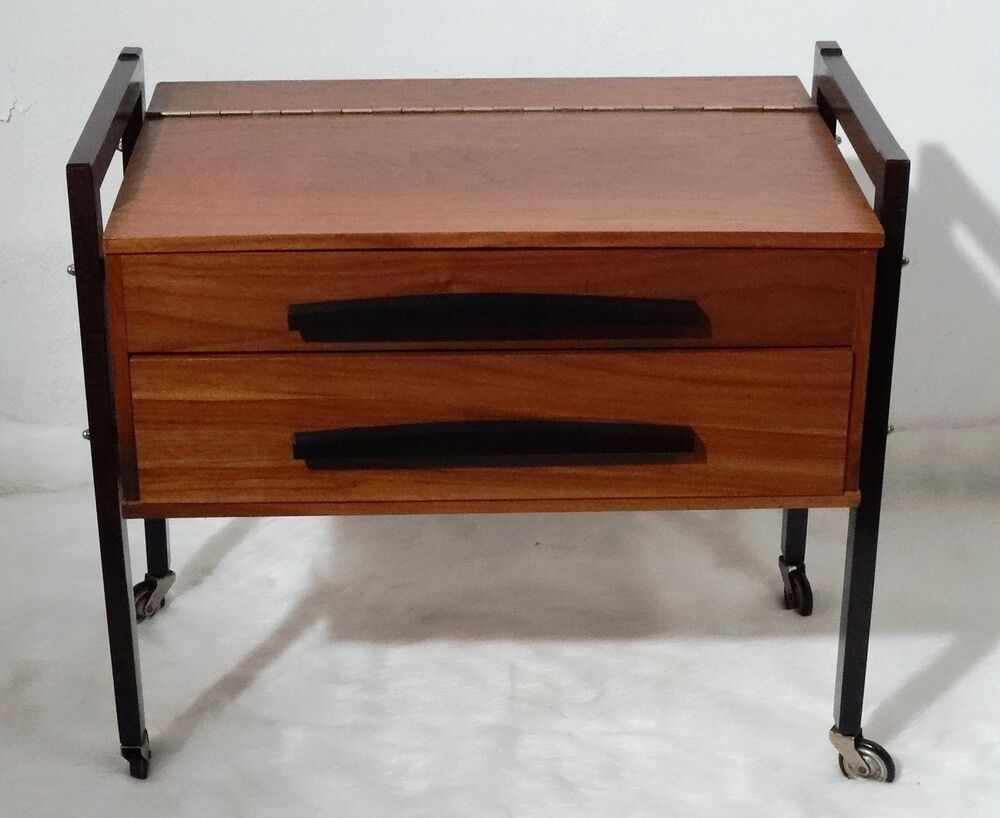 Mid century danish design sewing table 60 39 s nussholz for 60s table design