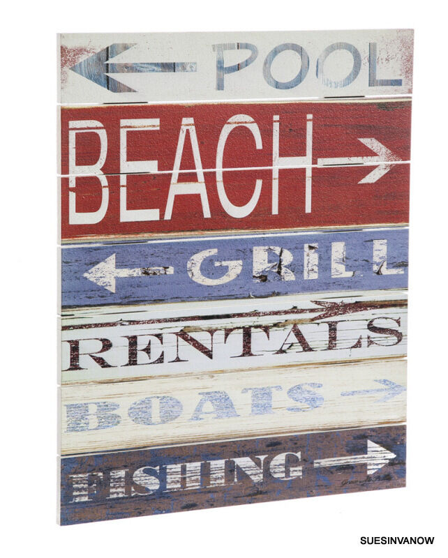 Swimming Pool Plaques Signs Wall Decor: Beach Sign Outdoor Wood Plank Wall Decor Pool Tiki Bar