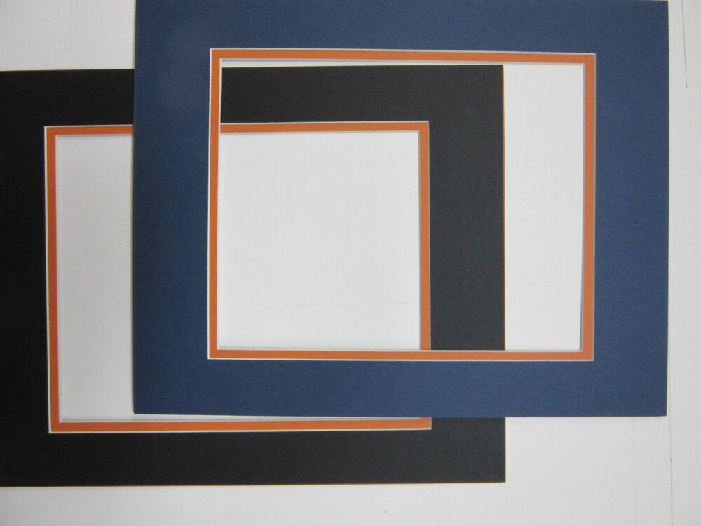 Picture Mat 16x20 For 11x14 Photo Blue With Orange And