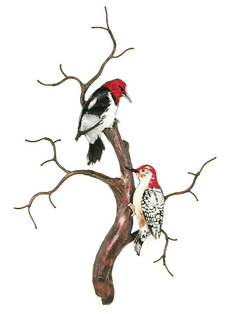 Wall Art Woodpeckers On Bare Branch Tree Metal Wall