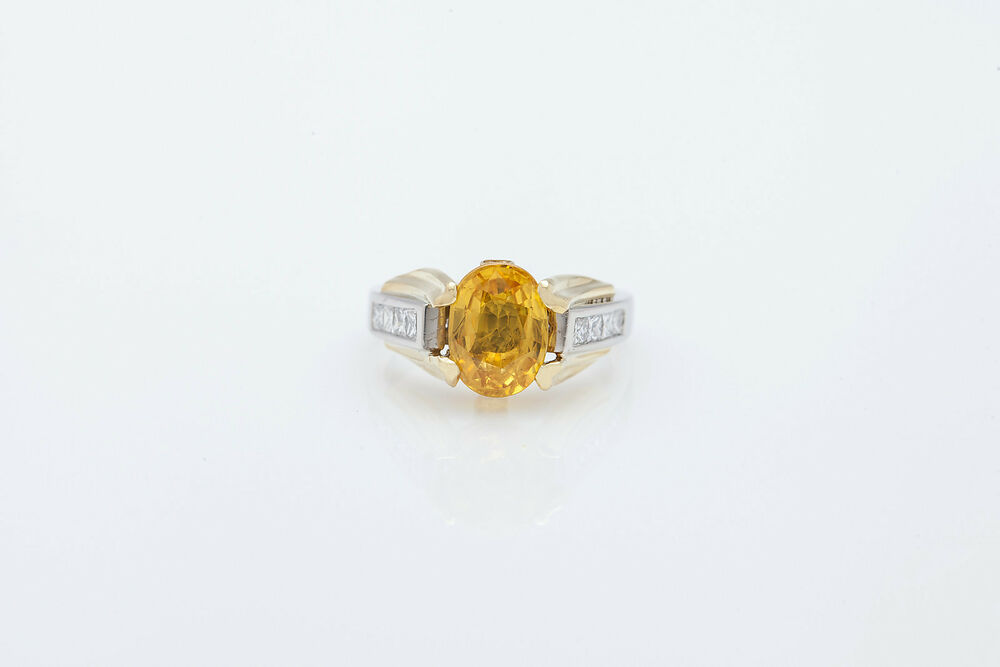 Signed $10 000 4ct Natural Yellow Sapphire Diamond Platinum 18k Gold Ring