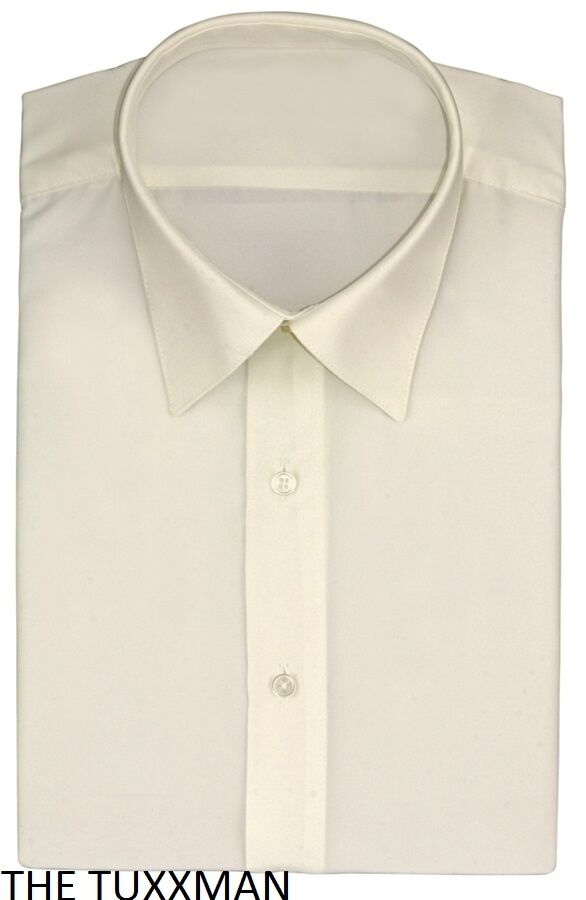New mens ivory off white laydown slim fit plain flat front for Mens ivory dress shirt wedding