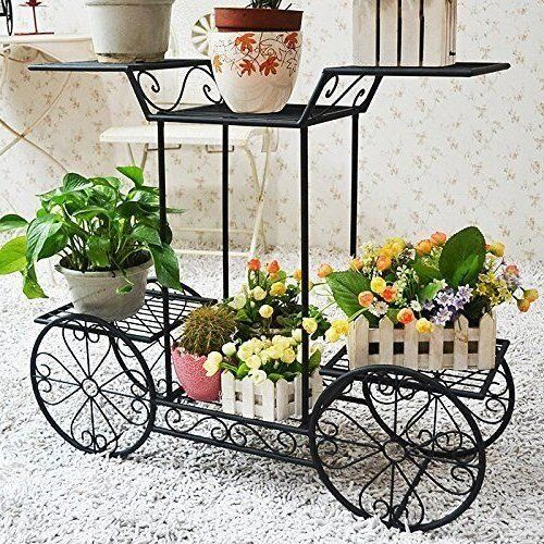 4 wheeler metal flower rack display plant stand with 6 pots holder indoor decor ebay. Black Bedroom Furniture Sets. Home Design Ideas