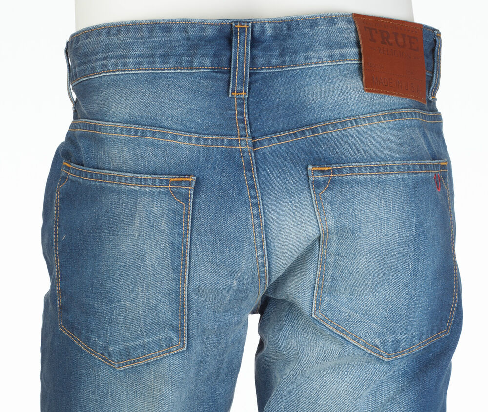 c706fa9f Details about TRUE RELIGION Mens Slim Straight Denim Jeans MID BLUE  Embroidered $295 NWT