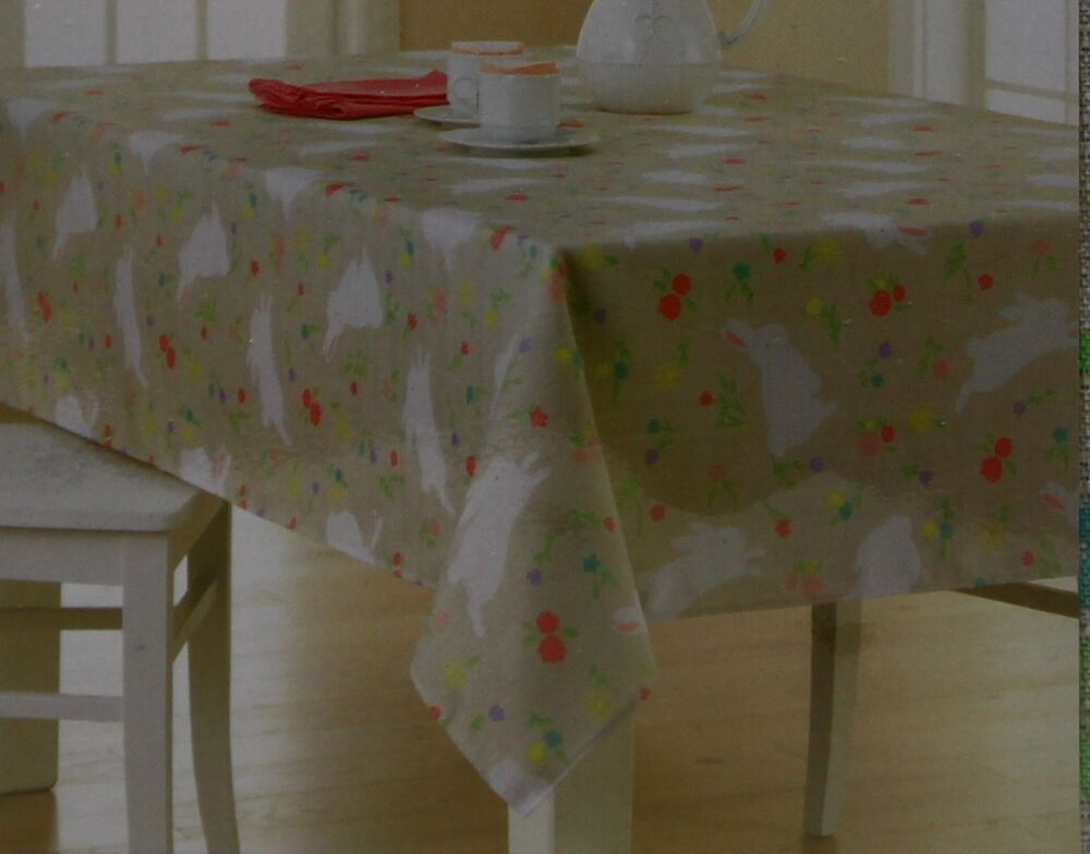 Celebrate easter spring tan bunny floral oblong tablecloth for Table 60x120