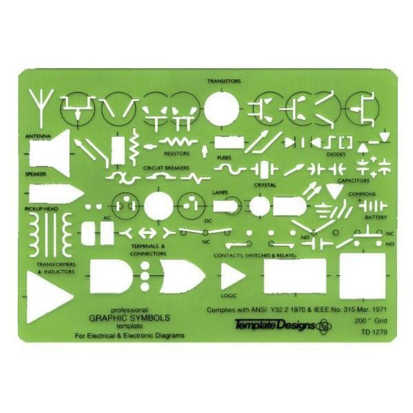 Alvin ELECTRICAL ELECTRONIC SYMBOLS TEMPLATE Stencil Drawing Design ...