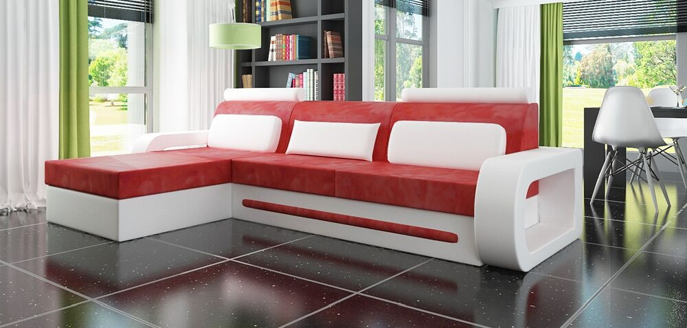 ledersofa ecksofa davos i beige rot couch ledercouch sofa l182xr282 draufsicht ebay. Black Bedroom Furniture Sets. Home Design Ideas
