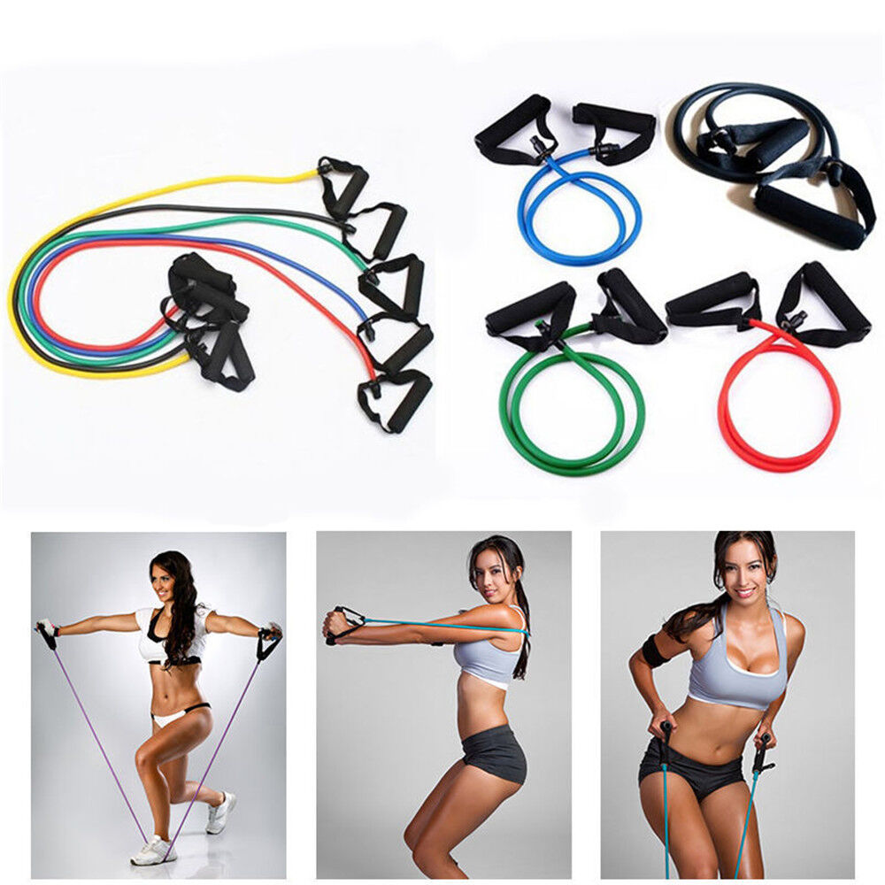 Resistance Band Set Yoga Pilates Abs Exercise Fitness Tube