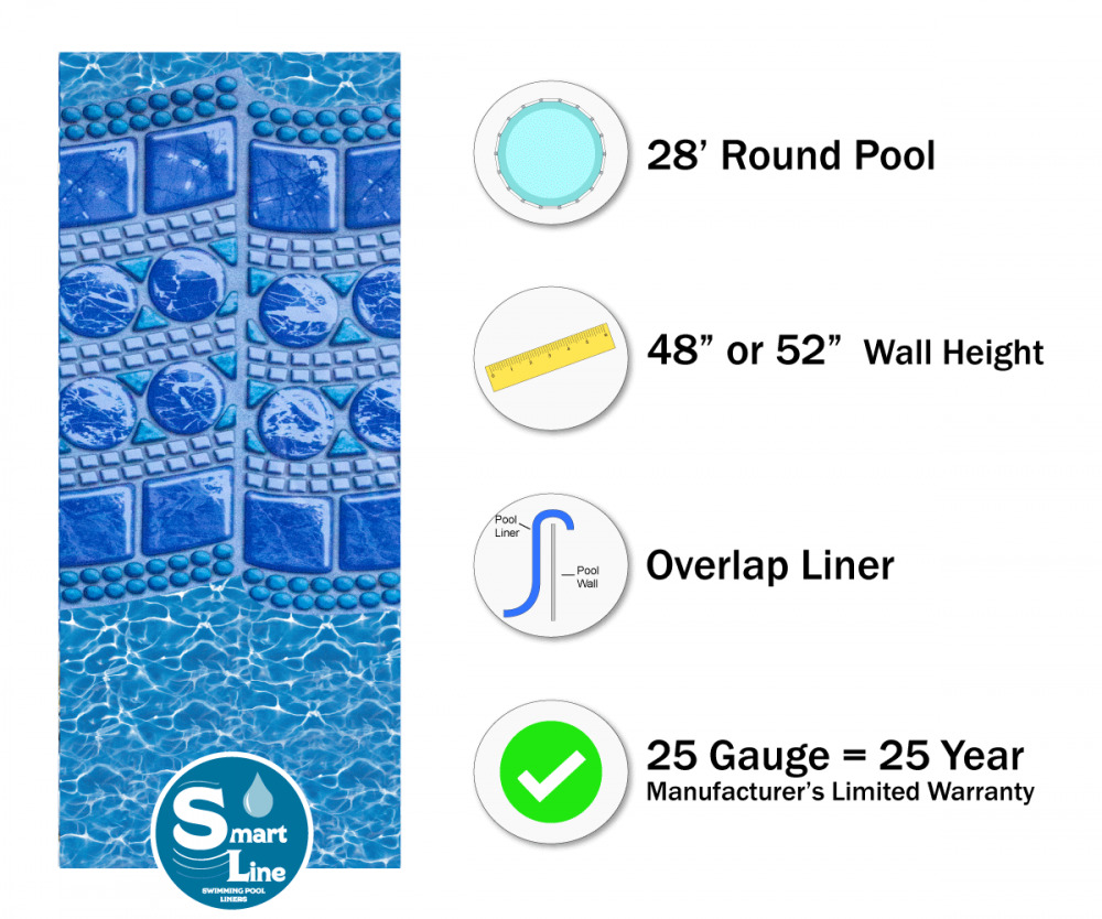 28 39 ft round overlap swirl tile above ground swimming pool liner 25 gauge ebay for A swimming pool is circular with a 40 ft diameter
