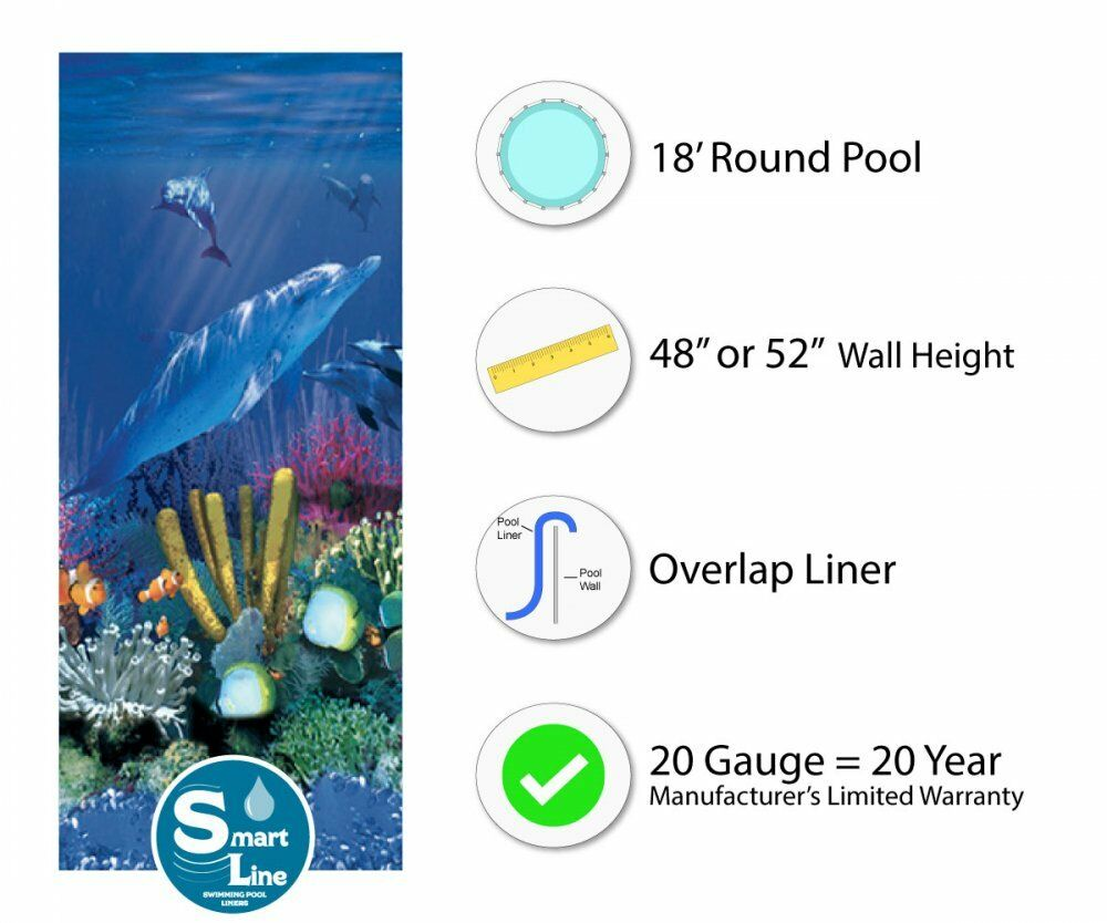 18 Ft Round Overlap Antilles Dolphin Above Ground Swimming Pool Liner 20 Gauge Ebay